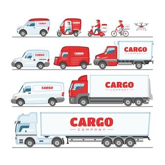 Fracht-lkw-van oder minivan-auto für lieferung oder transportfrachtillustrationssatz des modellfahrzeugs, das last auf weißem hintergrund liefert oder transportiert