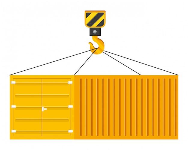 Frachtbehälter, der an einer kranhakenillustration hängt
