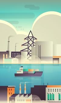 Frachtcontainerschiff im meer über fabrikgebäude industrie