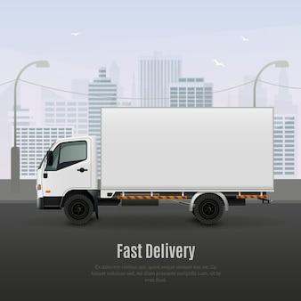 Frachtfahrzeug für eine schnelle lieferung, realistische zusammensetzung