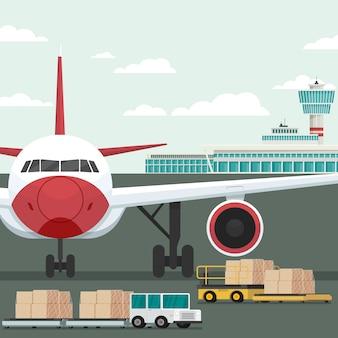 Frachtflugzeugtransport und laden am flughafen. konzept vektor-illustration