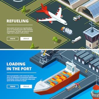 Frachtkonzept-fahnenschablone. horizontale bilder des güterverkehrs