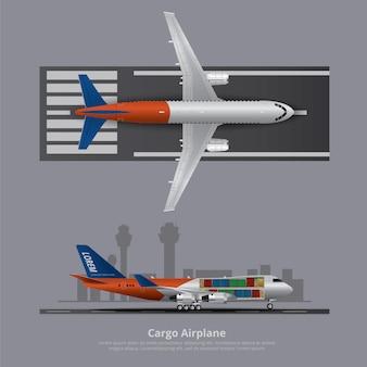Frachtschiff-flugzeug lokalisierte vektor-illustration