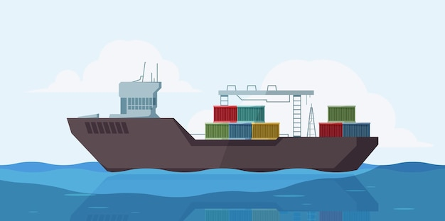 Frachtschiff im meer. marinelandschaft im freien mit lastkahnschiff mit behältervektorkarikaturhintergrund. illustration fracht see, seeschifffahrt und transport