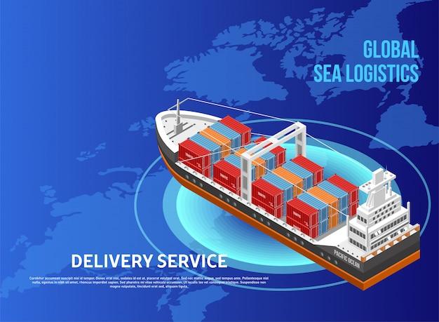 Frachtschiff über weltkarte Premium Vektoren