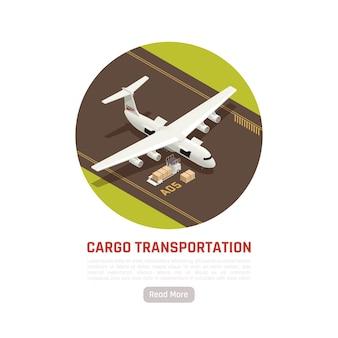Frachttransport isometrische runde illustration mit flugzeug auf landebahn des flugplatzes und kisten der fracht