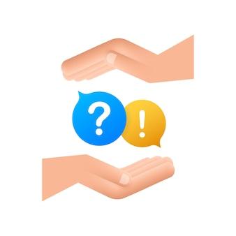 Frage-und-antwort-bubble-chat hängt über den händen auf weißem hintergrund. vektorgrafik auf lager.
