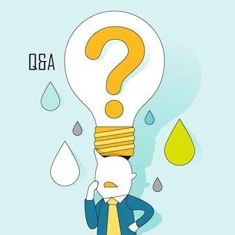 Frage-und-antwort-konzept: eine große fragebirne auf dem kopf des geschäftsmannes im linienstil