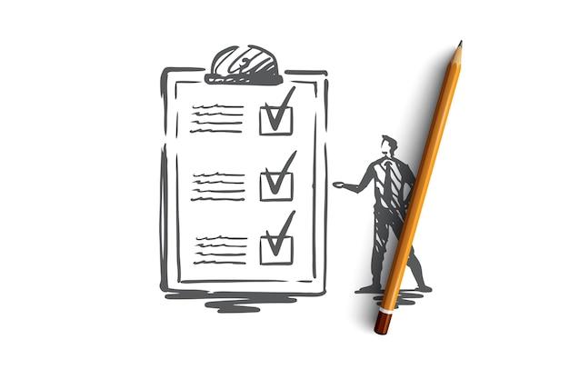 Fragebogen, formular, test, checkliste, umfragekonzept. hand gezeichnete person und umfrage bilden konzeptskizze.