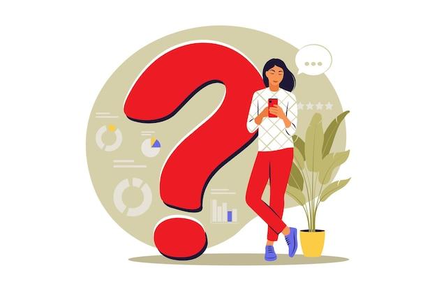 Fragen-konzept. die leute stellen häufig gestellte fragen. faq. vektor. eben