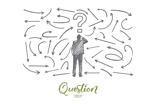 Fragenkonzept. hand gezeichneter mann nahe einer wand mit fragen. männliche person, die eine entscheidung treffen muss, isolierte illustration.