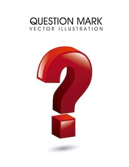 Fragezeichen 3d über weißer hintergrundvektorillustration