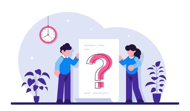 Fragezeichen auf dokument. geschäftsfrau und -mann stellen fragen um ein großes fragezeichen auf papier.