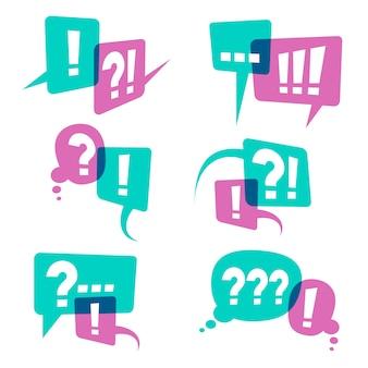 Fragezeichen auf rede sprudelt ikonen, geschäftsabfragekonzept