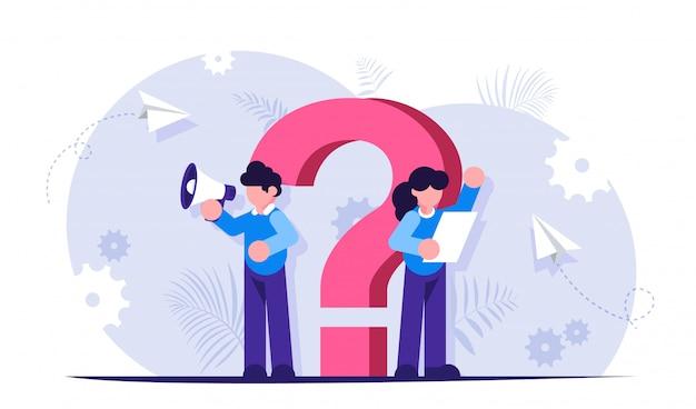 Fragezeichen. faq-konzept. support-mitarbeiter helfen ihnen bei der beantwortung ihrer fragen.