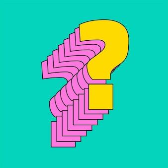 Fragezeichen überlagerte 3d-vektorschrift