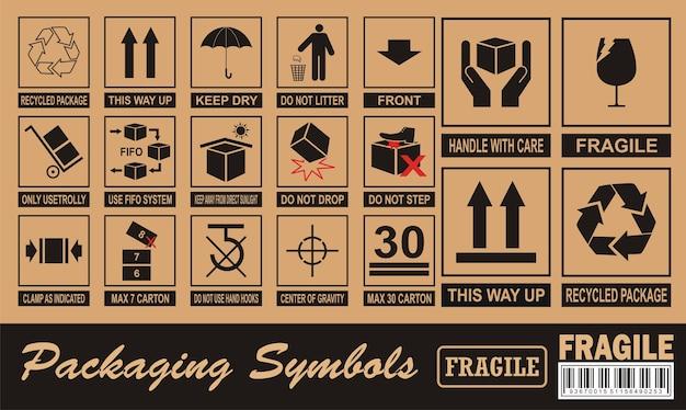 Fragiles symbol auf karton