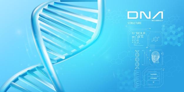 Fragment der doppelhelix-dna mit infografik-elementen