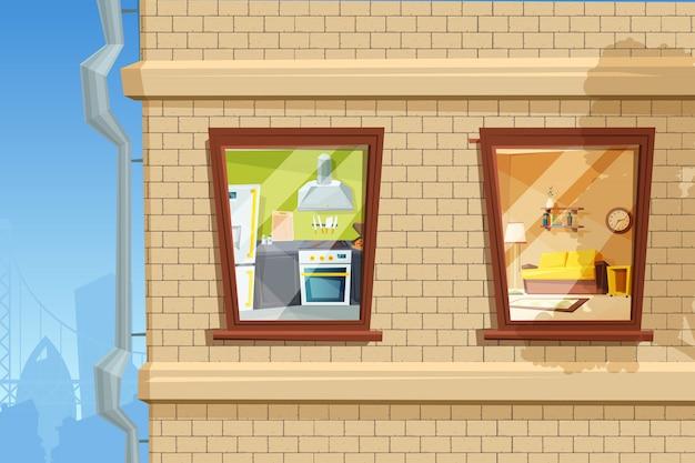 Fragment der lebenden hausfassade mit verschiedenen fenstern. wohnzimmer und küche interieur