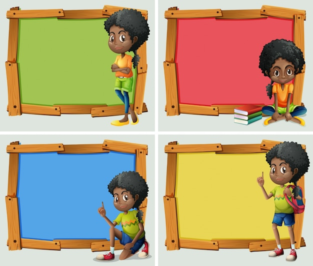 Frame design mit afroamerikanischen mädchen