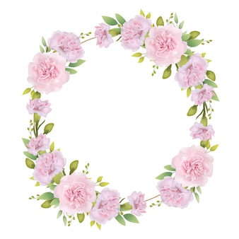Frame hintergrund floral mit rosa nelken