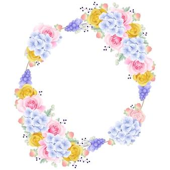 Frame hintergrund floral mit rosen und hortensien