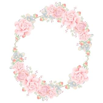 Frame hintergrund floral mit sukkulenten
