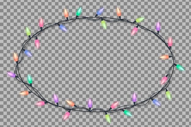 Frame realistische weihnachtsbeleuchtung