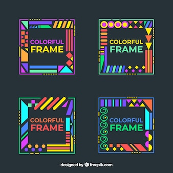 Frames sammlung in bunten stil