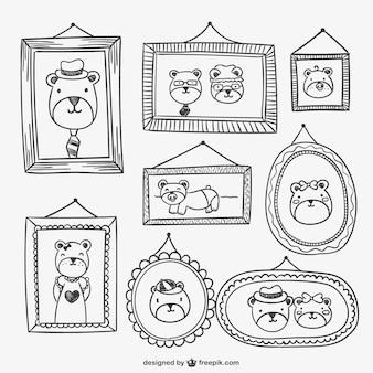 Frames und porträts zeichnungen