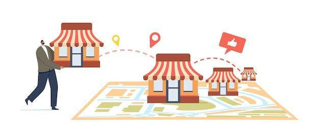 Franchise-geschäftskonzept. winziger männlicher charakter setzte kiosk auf riesige karte. geschäftsmann start kleinunternehmen expansion oder unternehmen mit home office, corporate headquarter. cartoon-vektor-illustration