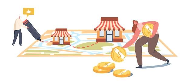 Franchise, kmu-entwicklung, franchising. expansionskonzept für kleine und mittlere unternehmen. männliche charaktermalerei auf riesiger karte mit verkäufer-kiosken, frau sammeln geld. cartoon-vektor-illustration