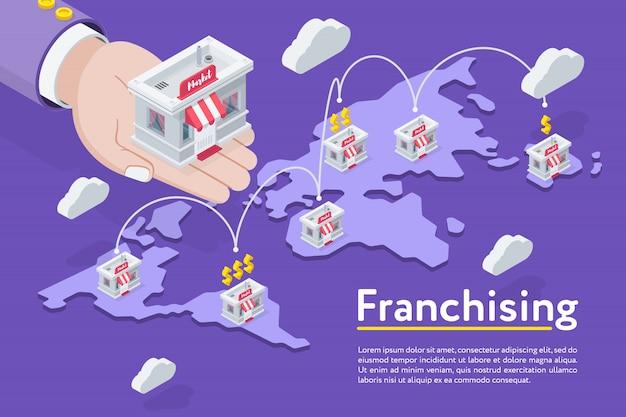 Franchising-kette auf der karte