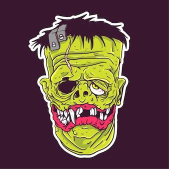 Frankenstein gesicht aufkleber patch
