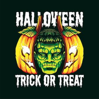 Frankenstein-kopf auf kürbisillustrationsvektorillustration, passend für t-shirt, druck und warenprodukt