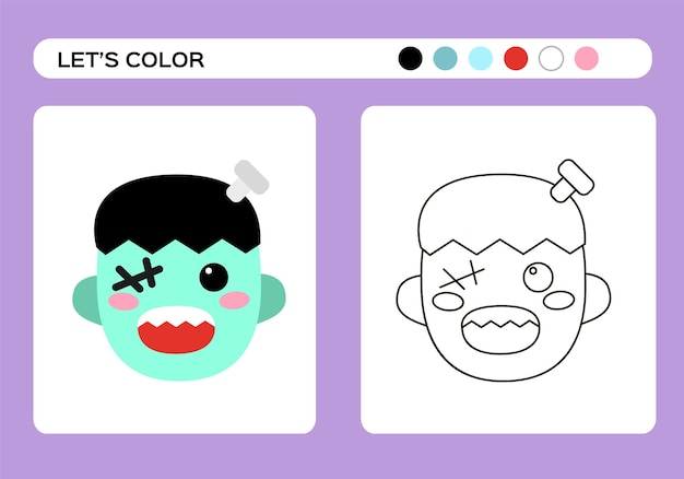 Frankenstein monster cartoon-farbbuch. malunterricht für kinder. fröhliches halloween-spiel. vektor