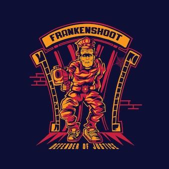 Frankenstein-polizei schießt mit pistole premium-vektor