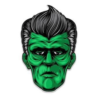 Frankenstein rockabilly frisur kunstwerk Premium Vektoren
