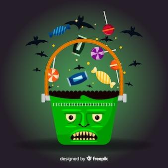 Frankenstein tasche gefüllt mit süßigkeiten für halloween