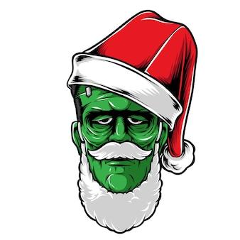 Frankenstein trägt weihnachtsmütze vektor