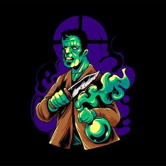 Frankenstein-zombie-t-shirt illustration premium-vektor