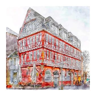 Frankfurt deutschland aquarell skizze hand gezeichnete illustration