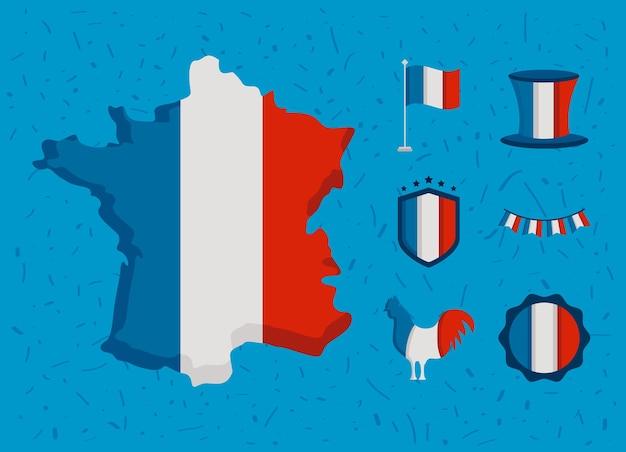 Frankreich bastille tag set icons set