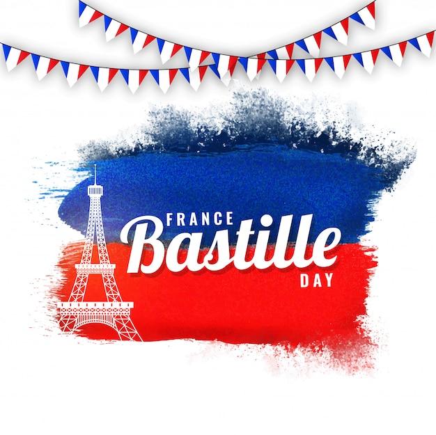 Frankreich-bastille-tageskonzept mit eiffelturm- und flaggenflaggen auf blauem und rotem hintergrund