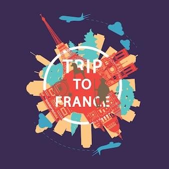 Frankreich berühmte wahrzeichen silhouette overlay-stil