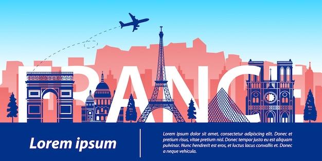 Frankreich berühmte wahrzeichen silhouette stil