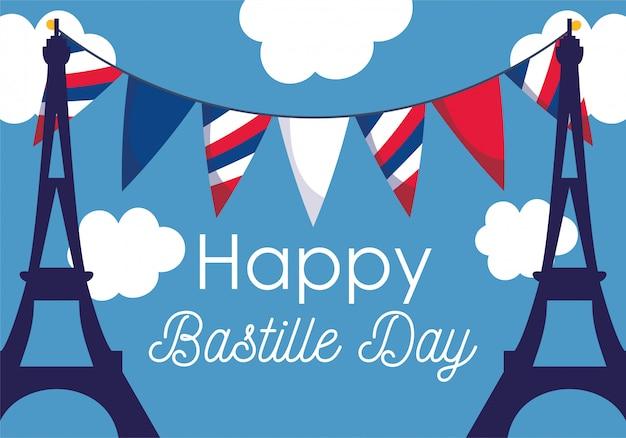 Frankreich eiffeltürme mit bannerwimpel des glücklichen bastille-tages