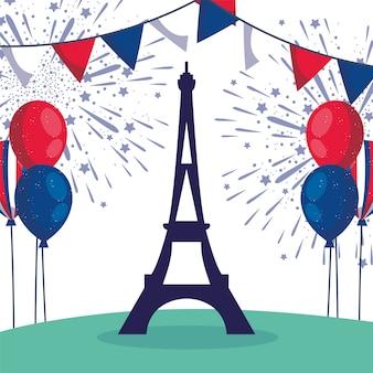 Frankreich eiffelturm mit fahnenwimpel des glücklichen bastilletages