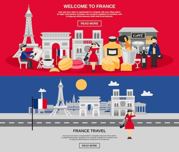 Frankreich-fahnen-set