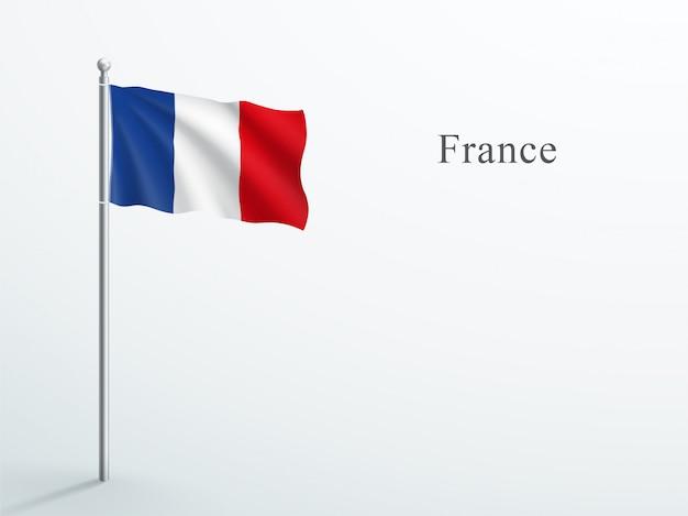 Frankreich flagge 3d element winken auf stahl fahnenmast